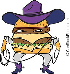 Funny cowboy burger, cheeseburger in a hat and lasso vector...
