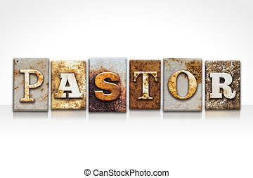 Pastor Letterpress Concept Isolated on White - The word...