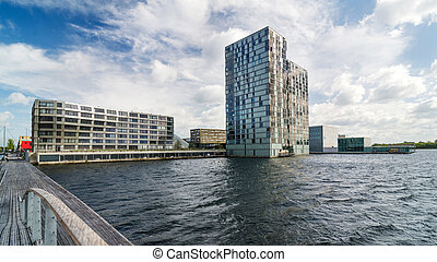 Skyline modern buildings of Almere Stad, Netherlands