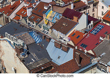urban landscape, view from above the rooftops