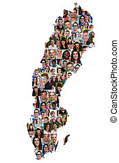 Sweden map multicultural group of young people integration...