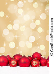 Christmas red balls decoration with golden background,...