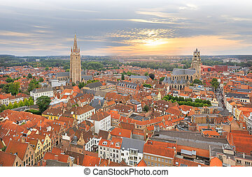 View over Bruges historical old town on sunset - Panorama of...