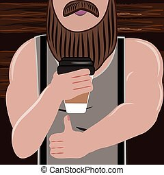 Sporty handsome man with a beard loves and drink coffee...