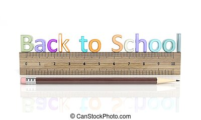 Pencil and ruler with Back to school text, isolated on white background