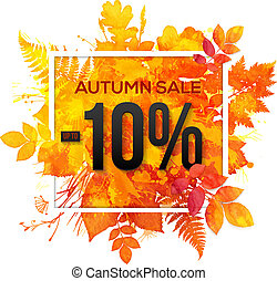 Autumn sale 10 percent discount vector banner with orange...