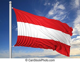 Waving flag of Austria on flagpole, on blue sky background.