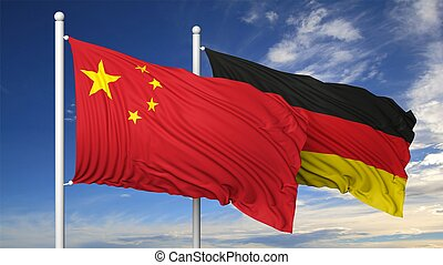 Waving flags of China and Germany on flagpole, on blue sky...