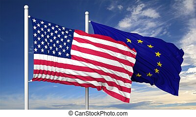 Waving flags of USA and EU on flagpole, on blue sky...