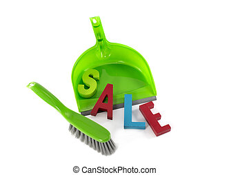 dustpan with sale - green dustpan with sale text letters in...