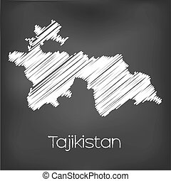 Scribbled Map of the country of Tajikistan - A Scribbled Map...