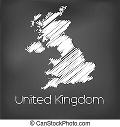 Scribbled Map of the country of United Kingdom - A Scribbled...