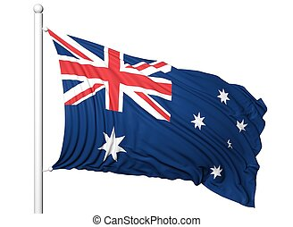 Waving flag of Australia on flagpole, isolated on white...