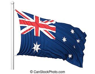 Waving flag of Australia on flagpole, isolated on white...
