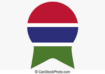 Flag Illustration inside a Rosette of the country of Gambia...