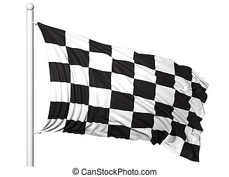 Waving flag of Formula One on flagpole, isolated on white...