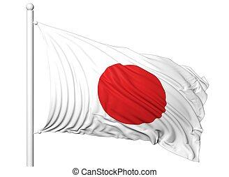 waving, bandeira, de, Japão, ligado, mastro, isolado,...