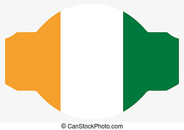 Flag Illustration within a Sign of the country of Cote...