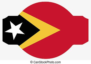 Flag Illustration within a Sign of the country of East Timor...
