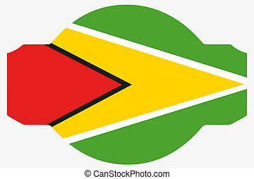 Flag Illustration within a Sign of the country of Guyana - A...