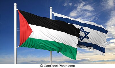 Waving flags of Israel and Palestine on flagpole, on blue...