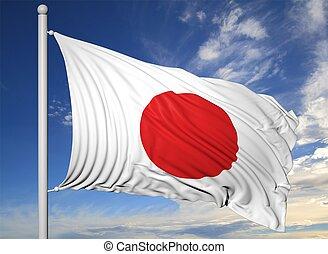 waving, bandeira, de, Japão, ligado, mastro, ligado,...