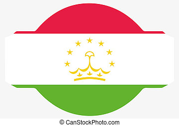 Flag Illustration within a Sign of the country of Tajikistan...