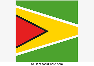 3D Isometric Flag Illustration of the country of Guyana - A...