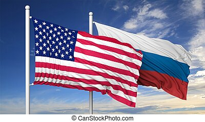 Waving flags of USA and Russia on flagpole, on blue sky...