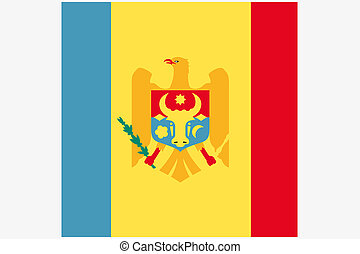 Square Flag Illustration of the country of Moldova - A...