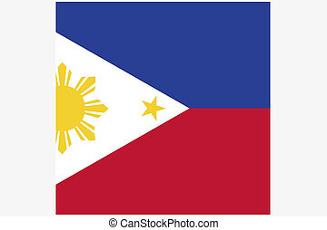 Square Flag Illustration of the country of Philippines - A...