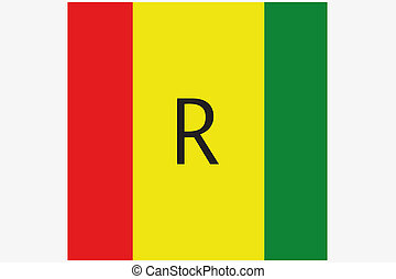 Square Flag Illustration of the country of Rwanda - A Square...