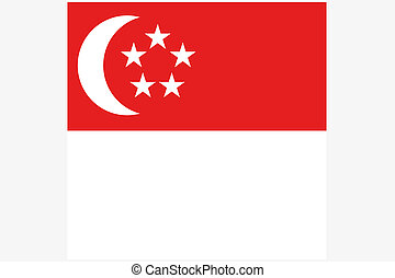 Square Flag Illustration of the country of Singapore - A...