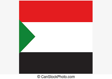 Square Flag Illustration of the country of Sudan - A Square...