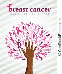 Breast cancer awareness pink ribbon hand tree
