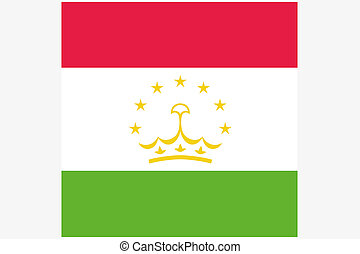 Square Flag Illustration of the country of Tajikistan - A...