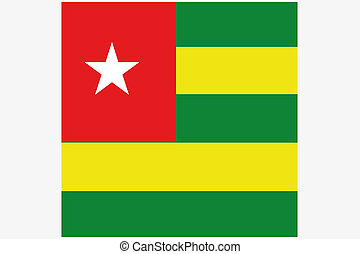 Square Flag Illustration of the country of Togo - A Square...