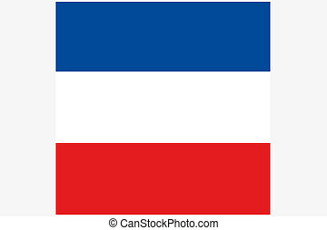 Square Flag Illustration of the country of Yugoslavia - A...