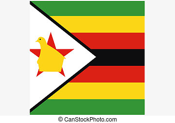 Square Flag Illustration of the country of Zimbabwe - A...