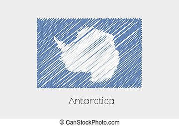 Scribbled Flag Illustration of the country of Antartica - A...