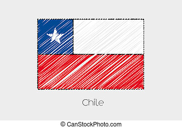 Scribbled Flag Illustration of the country of Chile - A...