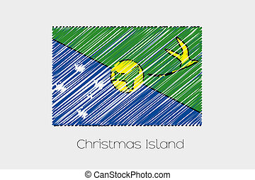 Scribbled Flag Illustration of the country of Christmas...