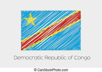 Scribbled Flag Illustration of the country of Democratic...
