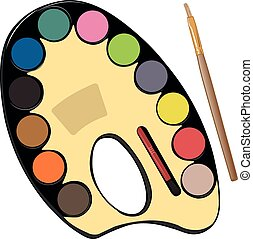 School paint kit for artist with watercolor paints and brushes