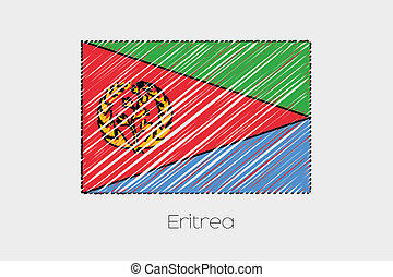 Scribbled Flag Illustration of the country of Eritrea - A...