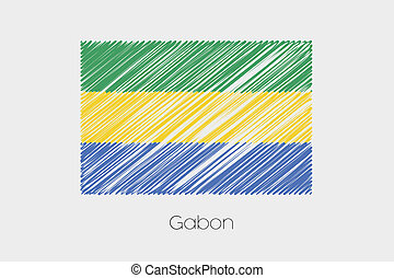 Scribbled Flag Illustration of the country of Gabon - A...