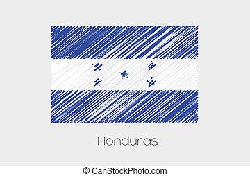 Garabatear, bandera, Ilustración, de, el,...