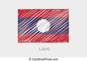 Scribbled Flag Illustration of the country of Laos - A...