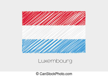 Scribbled Flag Illustration of the country of Luxembourg