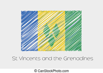 Scribbled Flag Illustration of the country of Saint Vincents...